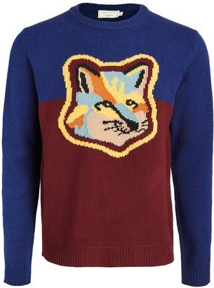 MAISON KITSUNÉ Wool Colorblock Fox Head Crew Neck Sweater