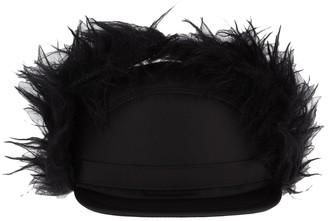 Prada Fur Trim Flap Cap
