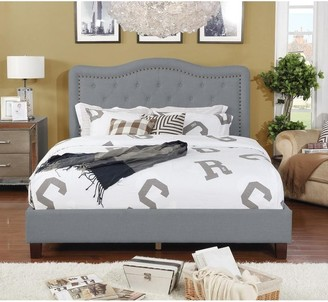 Nathaniel Home Queen Size Upholstered Button Tufted Platform Bed w/ Nail Head, Gray