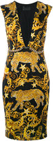 Philipp Plein baroque plunge neck shift dress - women - Cupro/Spandex/Elastane/Polyamide - S