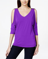 INC International Concepts Petite Cold-Shoulder Hardware Top, Created for Macy's