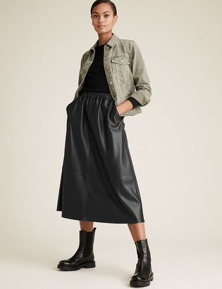 Marks and Spencer Faux Leather Midi Skater Skirt