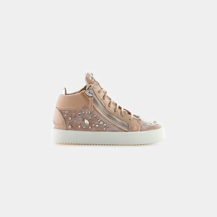 Giuseppe Zanotti Veronica Crystals Dual Zipper Velvet Sneaker