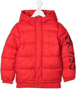 Boss Kidswear Sleeve-Logo Padded Hooded Jacket