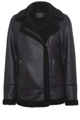 Dorothy Perkins Womens Black Shearling Aviator Coat, Black