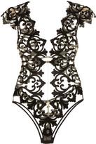 Agent Provocateur Haylie Open-back Velvet-appliquéd Tulle Bodysuit - Black