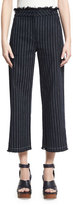 Alexander Wang Cropped Striped Cotton Burlap Pants, Navy