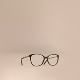 Burberry Check Detail Round Optical Frames