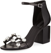 Alexander Wang Abby Dome-Studded Tilt-Heel City Sandal, Black