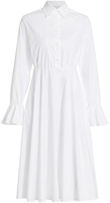 Valentino Flutter-Sleeve Poplin Shirtdress