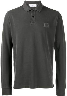 Stone Island logo long-sleeve polo shirt