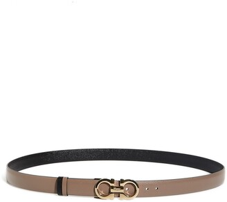 Salvatore Ferragamo Reversible Gancini Calfskin Leather Belt