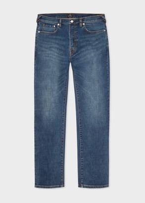 Paul Smith Men's Slim-Standard Antique-Wash 'Crosshatch Stretch' Jeans