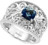 Effy London Blue Topaz (1-3/4 ct. t.w.) and White Sapphire Accent Statement Ring in Sterling Silver