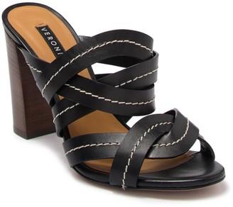 Veronica Beard Macey Vachetta Stitch Block Heel Sandal