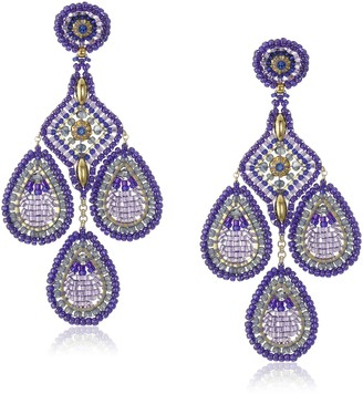 Miguel Ases Violet Rice Bead Pointed Square Center Chandelier Drop Earrings
