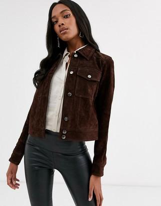 Vila suede western jacket in brown