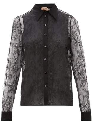 No.21 No. 21 - Lace And Silk-organza Blouse - Womens - Black