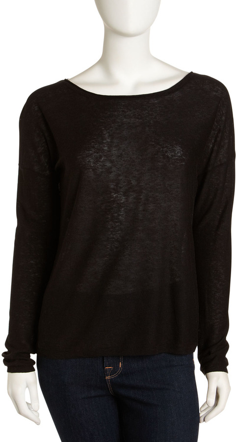 Vince Linen-Blend Sweater, Black