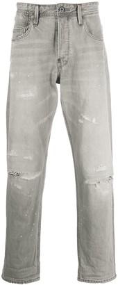 G Star High-Rise Straight Leg Distressed Jeans