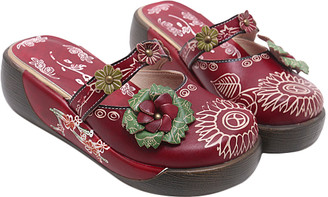 Sweet Acacia Women's Clogs Red - Red Floral-Sole Leather Clog - Women