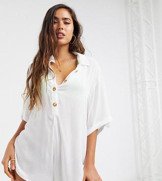 Esmée Esmee Exclusive button up beach romper in white