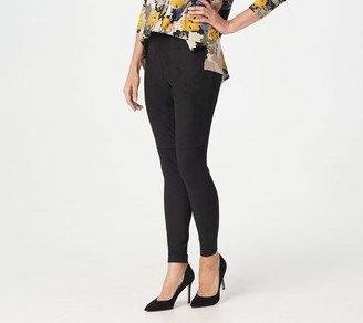 Halston H by Regular Faux Suede and Ponte Leggings with Seam Detail