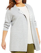 Eileen Fisher Plus Round Neck Long Reversible Cardigan