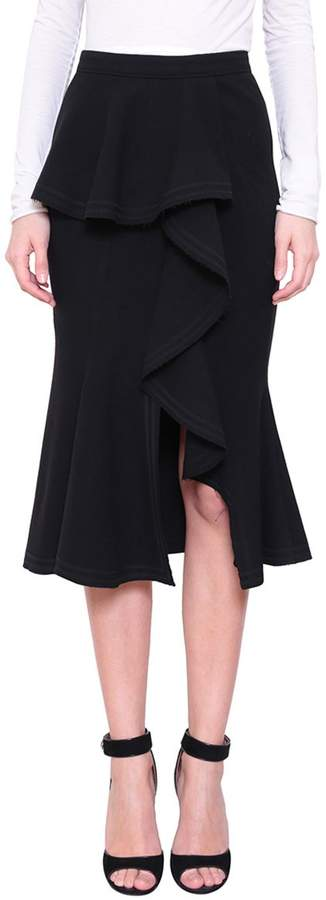 Givenchy Black Wool Volant Skirt