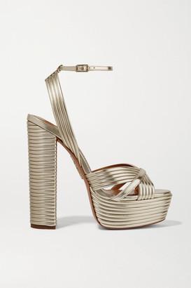 Aquazzura Sundance 140 Metallic Leather Platform Sandals - Gold