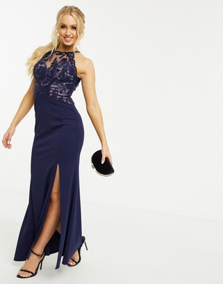 Lipsy lace insert maxi in navy