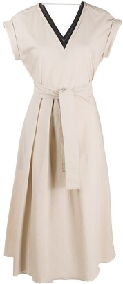 Brunello Cucinelli Brass-Embellished Flared Dress