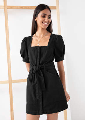 And other stories Belted Puff Sleeve Denim Mini Dress