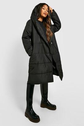 boohoo Wrap Duvet Coat