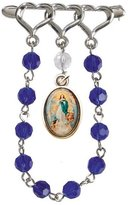 Gifts by Lulee Immaculate Conception Silver Plated Lapel Pin Chaplet with Glass Beads and Blessed Holy Card