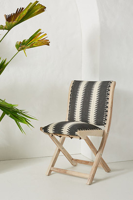 Anthropologie Suren-Striped Terai Folding Chair By in Black Size ALL