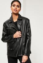 Missguided Black Oversized Boyfriend Faux Leather Biker Jacket