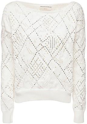Ermanno Scervino Crystal Embellished Open Knit Sweater