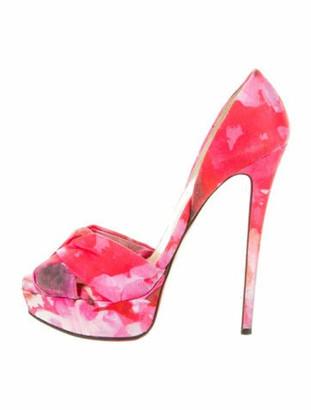 Christian Louboutin Floral Print Sandals Pink