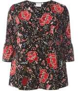 Dorothy Perkins Womens **Juna Rose Curve Red Floral Print Blouse- Red