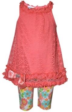 Blueberi Boulevard Baby Girls 2-Pc. Lace Top & Floral-Print Shorts Set