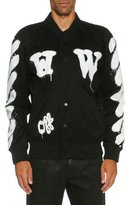 Off-White Spray-Paint Logo Varsity Jacket, Black