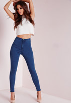 Missguided High Waisted Skinny Jeans Mid Blue