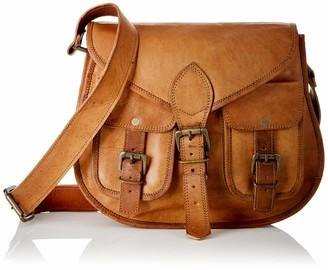 "Wild Hazel Genuine Leather Crossbody Bag 7 Ltr - For Women Vintage Brown 13X10"""