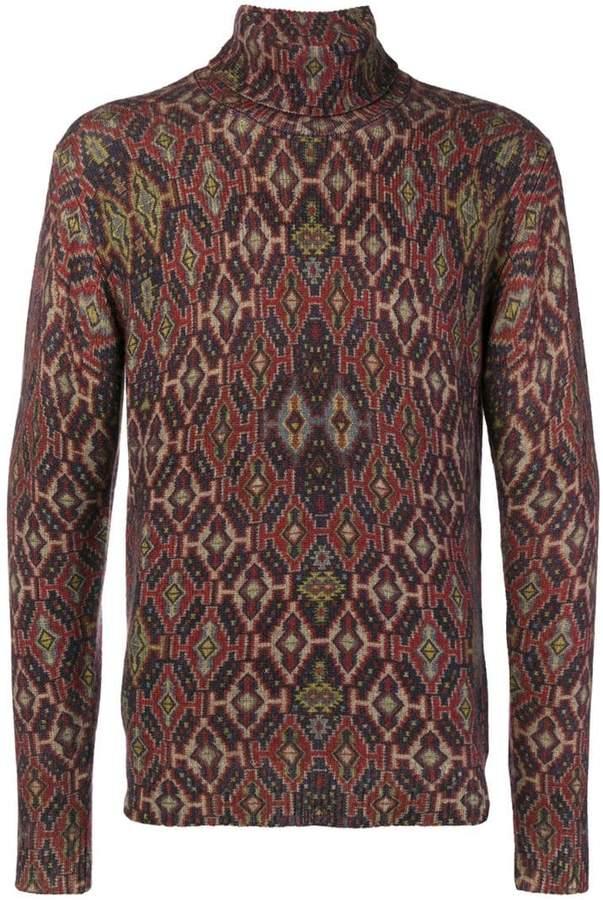 Etro patterned roll neck jumper