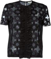 Fendi floral embroidered tulle top