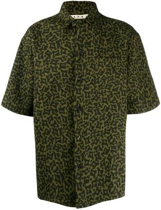 Marni Camo Cells print bowling shirt