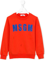 MSGM logo front sweatshirt - kids - Cotton - 4 yrs