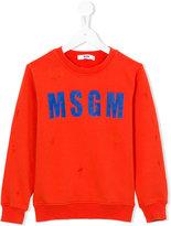 MSGM logo front sweatshirt - kids - Cotton - 8 yrs