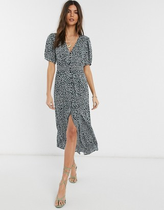 French Connection button front leopard print maxi dress